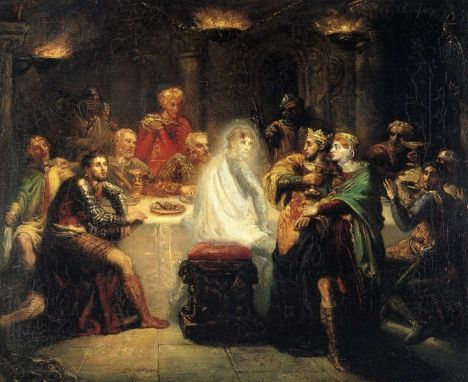 """Macbeth seeing the ghost of Banquo"" by Théodore Chassériau"