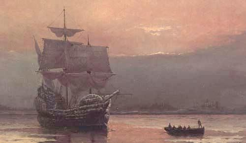 Mayflower in Plymouth Harbor by William Halsall, 1882