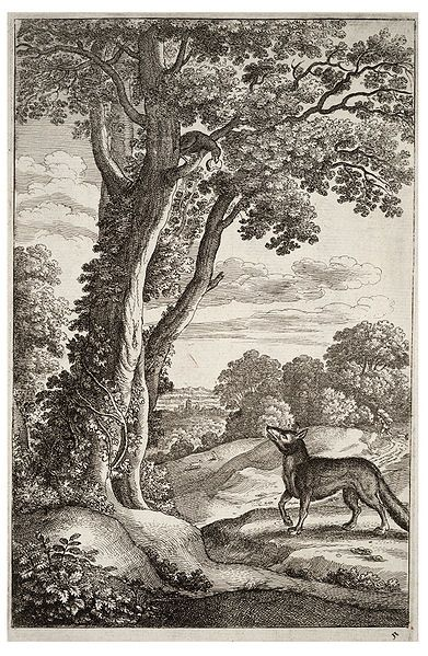 Aesop, Wenceslas Hollar, Fox and crow